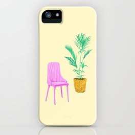 Pink Chair and Palm Tree iPhone Case