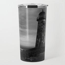Talacre Lighthouse Black And White Travel Mug
