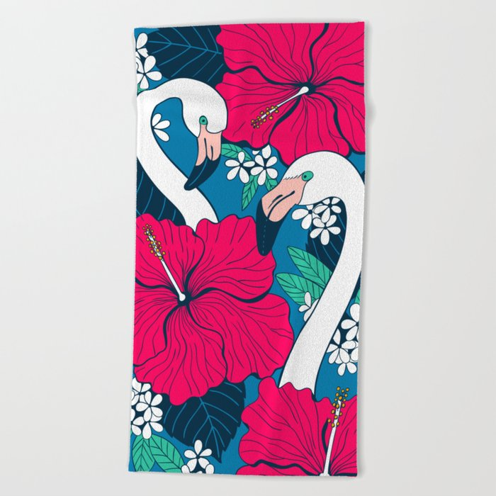 Flamingos and tropical flowers and leaves Beach Towel