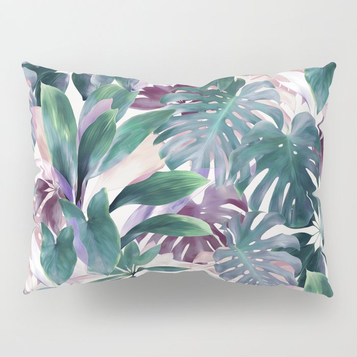 Tropical Emerald Jungle in light cool tones Pillow Sham
