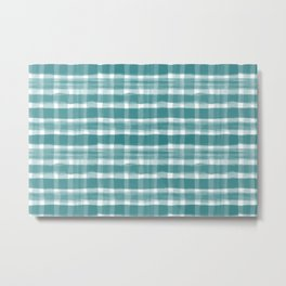 Watercolor Brushstroke Plaid Pattern Pantone Deep Lake Teal 18-4834 on White Metal Print