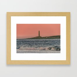 Pink sky and the Thacher's Islands north tower Framed Art Print