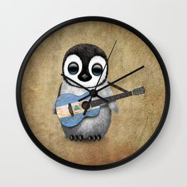 Baby Penguin Playing Nicaraguan Flag Acoustic Guitar Wall Clock