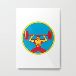 Weightlifter Lifting Weights Front Circle Retro Metal Print