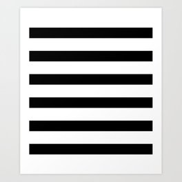 Black and White Horizontal Stripes Art Print
