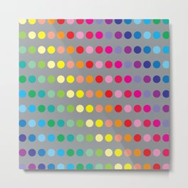 Rainbow Circles (Gray) Metal Print