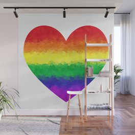 Pride Geometric Rainbow Heart LGBT Love and Support Wall Mural