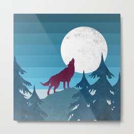 Wolf in the woods Metal Print