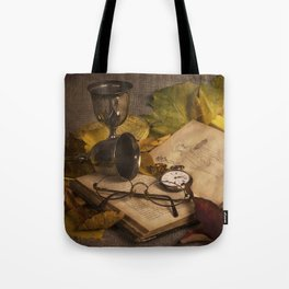 Memories in Autumn - old book glasses and watch still life Tote Bag