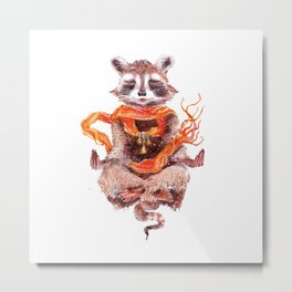 Raccoon meditates (female) Metal Print