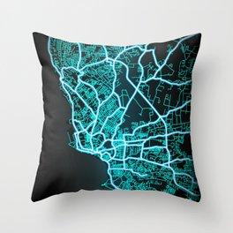 Bridgetown, Barbados, Blue, White, Neon, Glow, City, Map Throw Pillow