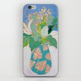 Lily and Eucalyptus Bouquet in Blue and Peach Floral Vase iPhone Skin