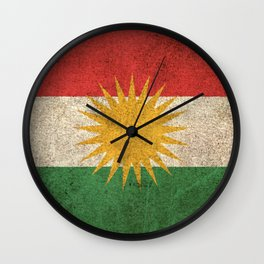 Old and Worn Distressed Vintage Flag of Kurdistan Wall Clock