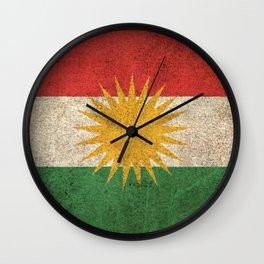 Old and Worn Distressed Vintage Flag of Kurdistan Wall Clock