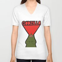 godzilla V-neck T-shirts featuring Godzilla by evannave