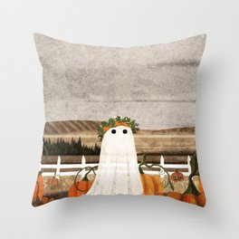 There's a Ghost in the Pumpkins Patch Again... Throw Pillow
