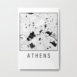 Athens, Greece, city map, Black on White design Metal Print