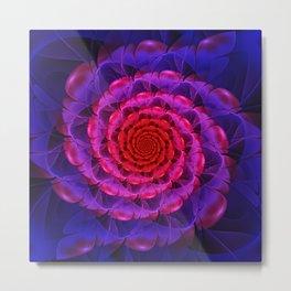 Ascension of a Vermilion Rose Fractal Spiral Bloom Metal Print