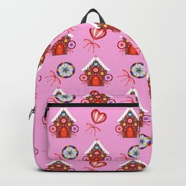 gingerbread houses, candy lollipops. Retro vintage cozy baby pink Christmas pattern Backpack