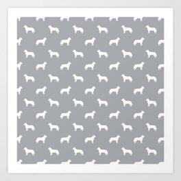 Australian Cattle Dog silhouette pattern portrait dog pattern grey and white Art Print
