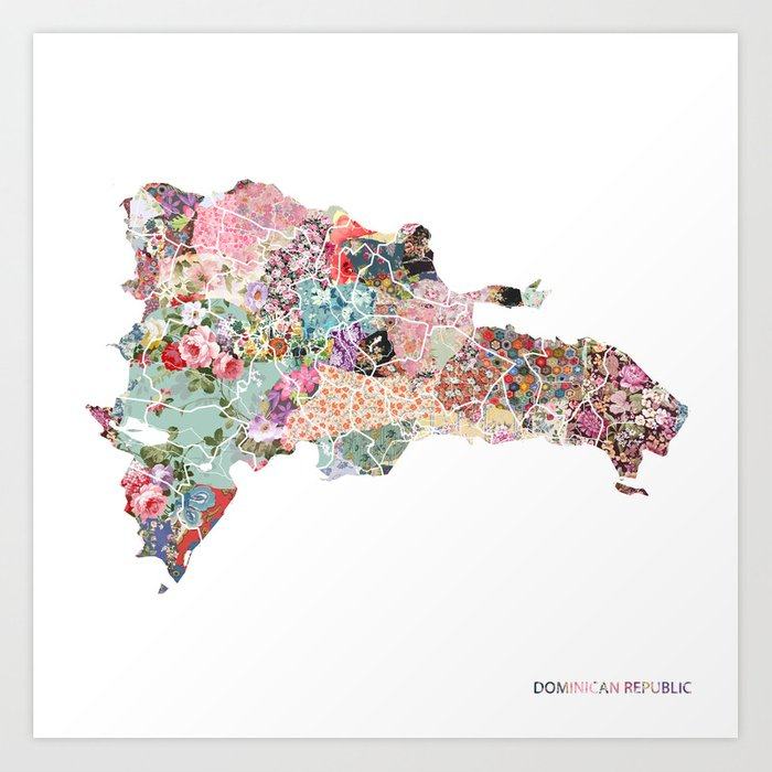 Dominican Republic map Art Print by poeticmaps | Society6