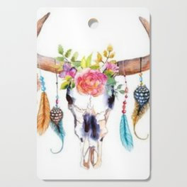 Floral and Feathers Adorned Bull Skull Cutting Board