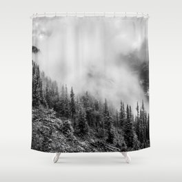 Fog in the Mountains | Black and White Photography | Landscape | black-and-white | bw Shower Curtain