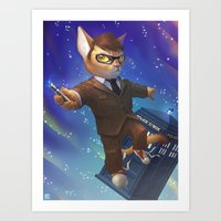 dr who Art Prints featuring Dr Who Cat (Dr. Mew) by nicholas_kay