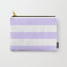 Pale lavender - solid color - white stripes pattern Carry-All Pouch