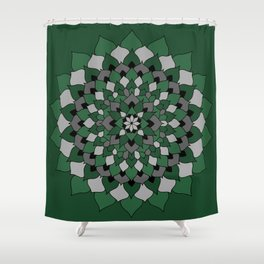 Green & Silver Floral Mandala Shower Curtain