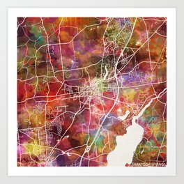 Saratoga Springs map Art Print