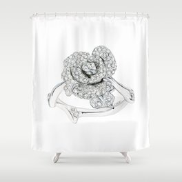 Silver Rose Ring Shower Curtain
