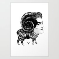 aries Art Prints featuring Aries by Carolina Espinosa