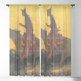 """Frederic Remington Western Art """"Against the Sunset"""" Sheer Curtain"""