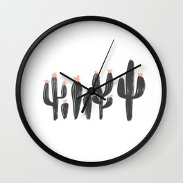 Southwest Cacti Ink Drawing Wall Clock