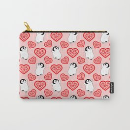 Cute happy cheerful dancing baby penguins cartoon and pretty red hearts pale red whimsical seamless pattern. Gifts for penguin lovers. Nursery decor ideas. Carry-All Pouch