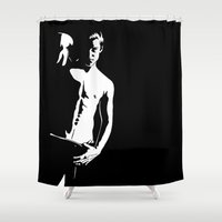 the dude Shower Curtains featuring Dude by ParthKothekar