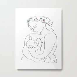 Picasso breast feeding mother, beautiful relationship, mothers day gift, anti war art, peaceful positive art Metal Print