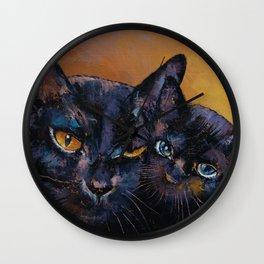 Bombay Cat with Kitten Wall Clock