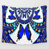western Wall Tapestries featuring Western Royal Blue Butterfly  by SharlesArt