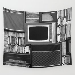 Everything Retro (Black and White) Wall Tapestry