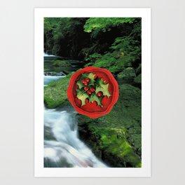 Christmas Card (Holly Waterfall) Art Print