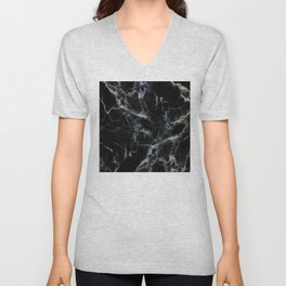 Luxurious Black Marble With Smoky Veins Unisex V-Neck