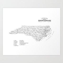 North Carolina Surf Map- B&W Art Print