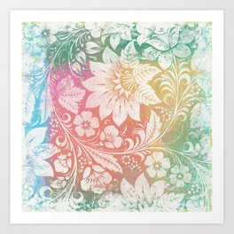 Abstract Pattern:  Watercolor Summery Brights 1 Shabbalicious Floral Orange Art Print