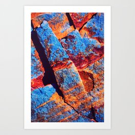 Abstract, black red, blue, surface building painting Art Print