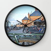 bicycles Wall Clocks featuring bicycles by  Agostino Lo Coco