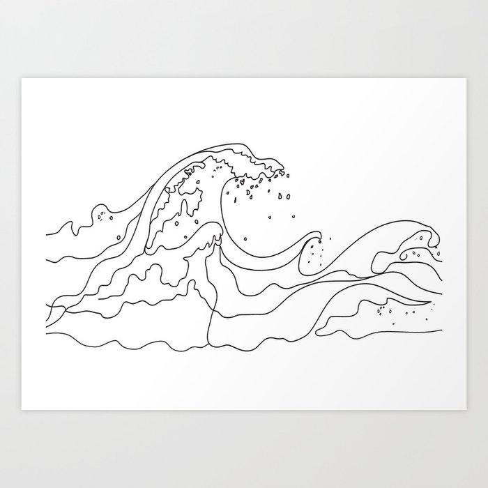 Minimal Line Art Ocean Waves Art Print by nadja1