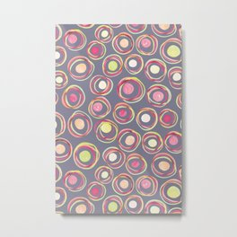 Watercolour Circles #2 | Sorbet and Grey Palette Metal Print