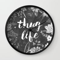 2pac Wall Clocks featuring Thug Life by Text Guy
